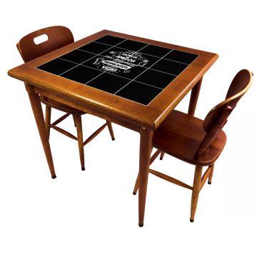 Mesa de jantar pequena quadrada para sala 2 cadeiras Família e Amigos - Empório Tambo
