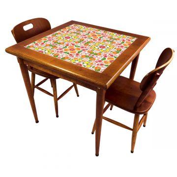 Mesa de jantar pequena quadrada para sala 2 cadeiras Frutas - Empório Tambo