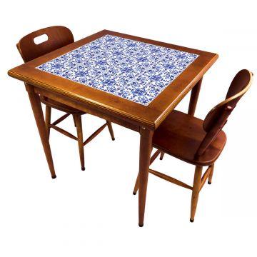 Mesa de jantar pequena quadrada para sala 2 cadeiras Português - Empório Tambo
