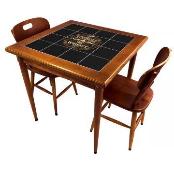 Mesa de jantar pequena quadrada para sala 2 cadeiras Stronger Whiskey - Empório Tambo