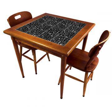 Mesa de jantar pequena quadrada para sala 2 cadeiras Textura Café - Empório Tambo
