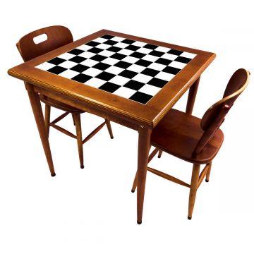 Mesa de jantar pequena quadrada para sala 2 cadeiras Textura Xadrez - Empório Tambo