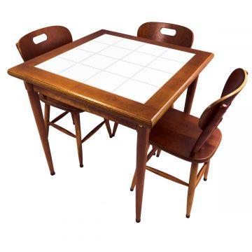 Mesa pequena de jantar com 3 cadeiras para apartamento Branco - Empório Tambo