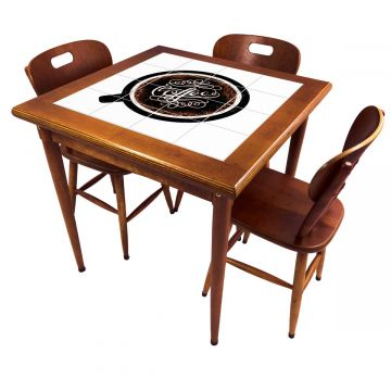 Mesa pequena de jantar com 3 cadeiras para apartamento Coffe - Empório Tambo