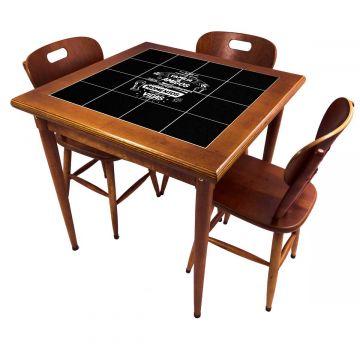 Mesa pequena de jantar com 3 cadeiras para apartamento Família e Amigos - Empório Tambo
