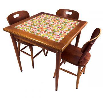 Mesa pequena de jantar com 3 cadeiras para apartamento Frutas - Empório Tambo