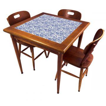 Mesa pequena de jantar com 3 cadeiras para apartamento Ondulação - Empório Tambo