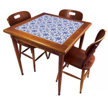 Mesa pequena de jantar com 3 cadeiras para apartamento Português - Empório Tambo