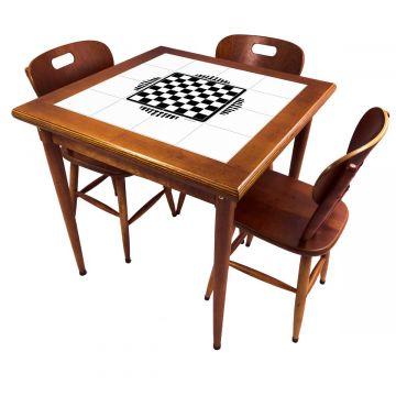 Mesa pequena de jantar com 3 cadeiras para apartamento Tabuleiro de Xadrez - Empório Tambo