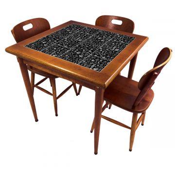 Mesa pequena de jantar com 3 cadeiras para apartamento Textura Café - Empório Tambo