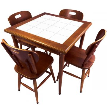 Mesa de Jantar 4 Lugares quadrada de madeira para casa edícula Branco - Empório Tambo