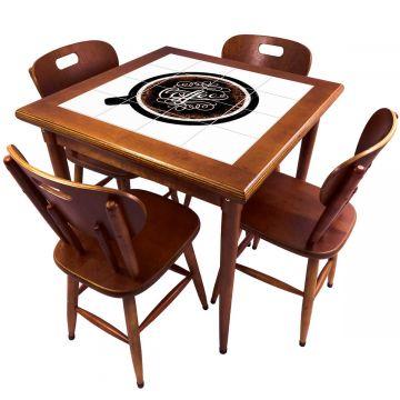 Mesa de Jantar 4 Lugares quadrada de madeira para casa edícula Coffe - Empório Tambo