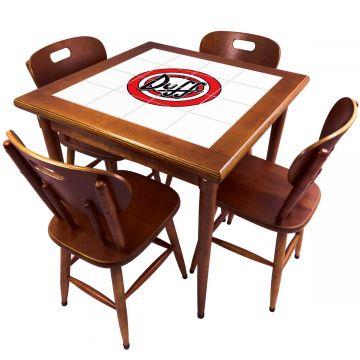 Mesa de Jantar 4 Lugares quadrada de madeira para casa edícula Duff - Empório Tambo