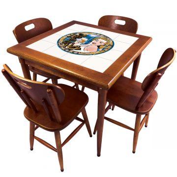 Mesa de Jantar 4 Lugares quadrada de madeira para casa edícula Go hard or Go Home - Empório Tambo