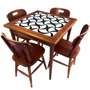 Mesa de Jantar 4 Lugares quadrada de madeira para casa edícula Luar - Empório Tambo