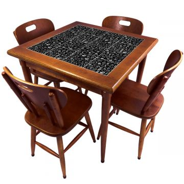 Mesa de Jantar 4 Lugares quadrada de madeira para casa edícula Textura Café - Empório Tambo