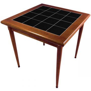 Mesa de madeira jantar maciça rustica quadrada Preto - Empório Tambo