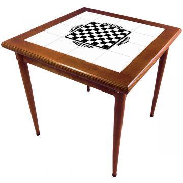 Mesa de madeira jantar maciça rustica quadrada Tabuleiro de Xadrez - Empório Tambo