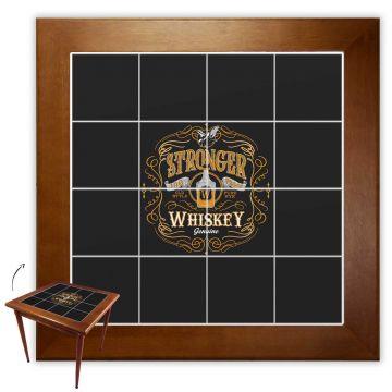 Mesa de madeira jantar maciça rustica quadrada Stronger Whiskey - Empório Tambo