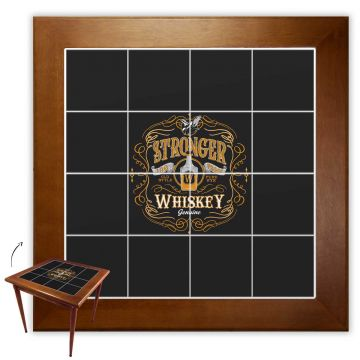 Mesa de Jantar 4 Lugares quadrada de madeira para casa edícula Stronger Whiskey - Empório Tambo