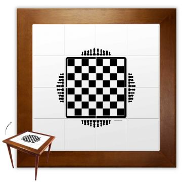 Mesa de Jantar 4 Lugares quadrada de madeira para casa edícula Tabuleiro de Xadrez - Empório Tambo