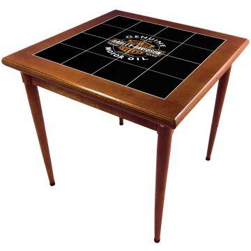 Mesa de madeira jantar maciça rustica quadrada Harley Davidson Genuine - Empório Tambo