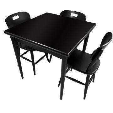 Mesa jantar 80x80 pequena de madeira com 3 cadeiras Laqueada Preta - Empório Tambo