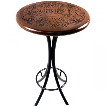 Mesa redonda de madeira para bar alta Beer Happy Hour - Empório Tambo