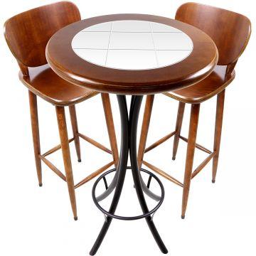 Conjunto de mesa e 2 cadeiras para varanda e sacada Branco - Empório Tambo