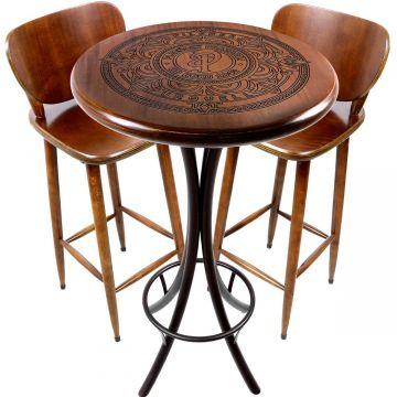 Mesa de barzinho madeira alta redonda com 2 banquetas Pilsner - Empório Tambo