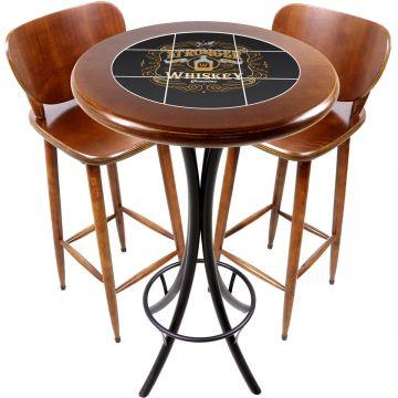 Conjunto de mesa e 2 cadeiras para varanda e sacada Stronger Whiskey - Empório Tambo