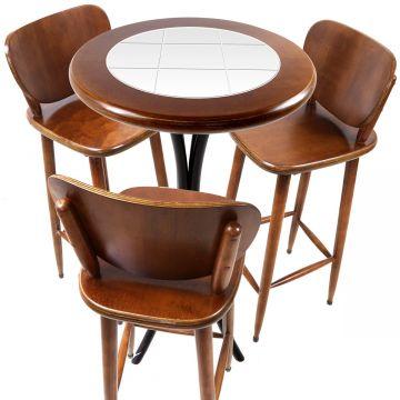 Mesa para sacada gourmet redonda alta com 3 lugares Branco - Empório Tambo