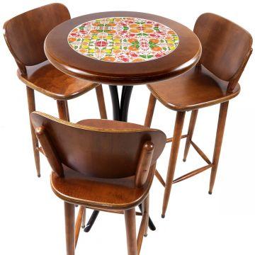 Mesa para sacada gourmet redonda alta com 3 lugares Frutas - Empório Tambo