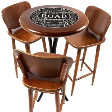 Mesa para sacada gourmet redonda alta com 3 lugares Hit the Road Jack - Empório Tambo