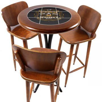 Mesa para sacada gourmet redonda alta com 3 lugares Stronger Whiskey - Empório Tambo