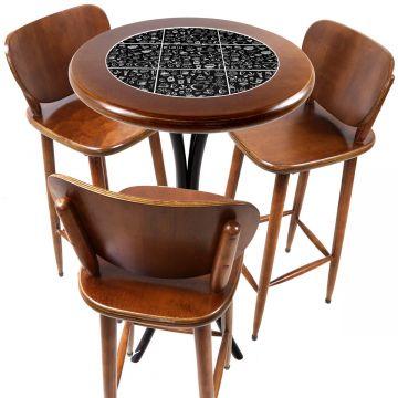 Mesa para sacada gourmet redonda alta com 3 lugares Textura Café - Empório Tambo
