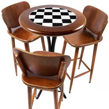 Mesa para sacada gourmet redonda alta com 3 lugares Textura Xadrez - Empório Tambo