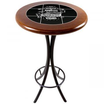 Mesa alta de bar redonda em madeira Família e Amigos - Empório Tambo