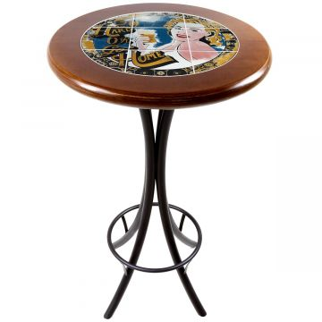 Mesa alta de bar redonda em madeira Go hard or Go Home - Empório Tambo
