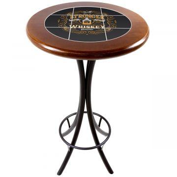Mesa alta de bar redonda em madeira Stronger Whiskey - Empório Tambo
