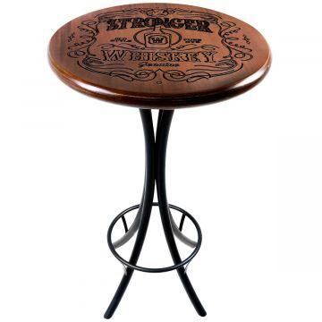 Mesa redonda de madeira para bar alta Stronger Whiskey - Empório Tambo