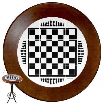Mesa alta de bar redonda em madeira Tabuleiro de Xadrez - Empório Tambo