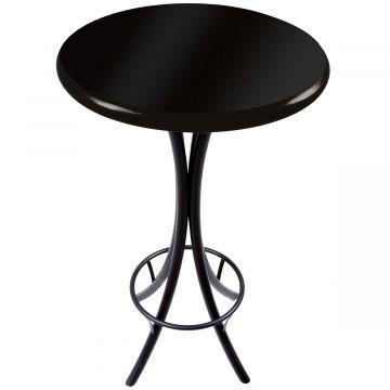 Mesa redonda de madeira para bar alta Laqueada Preta - Empório Tambo