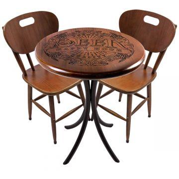 Mesa pequena para apartamento em madeira com 2 cadeiras Beer Happy Hour - Empório Tambo