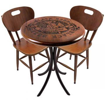 Mesa pequena para apartamento em madeira com 2 cadeiras Black Beer - Empório Tambo