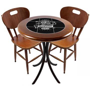 Mesa para apartamento pequeno com 2 cadeiras em madeira e azulejo Família e Amigos - Empório Tambo