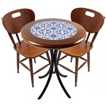 Mesa para apartamento pequeno com 2 cadeiras em madeira e azulejo Português - Empório Tambo