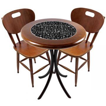 Mesa para apartamento pequeno com 2 cadeiras em madeira e azulejo Textura Café - Empório Tambo