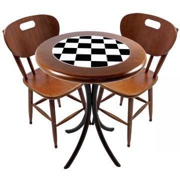 Mesa para apartamento pequeno com 2 cadeiras em madeira e azulejo Textura Xadrez - Empório Tambo