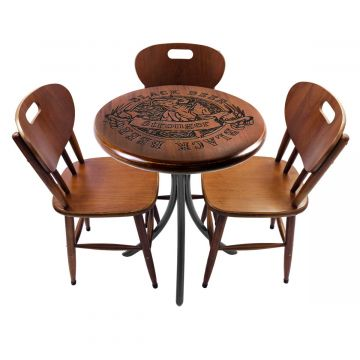 Mesa para lanchonete com 3 cadeiras Black Beer - Empório Tambo